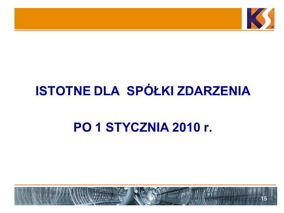 ISTOTNE DLA SPÓŁKI ZDARZENIA PO 1 STYCZNIA 2010 r. 15