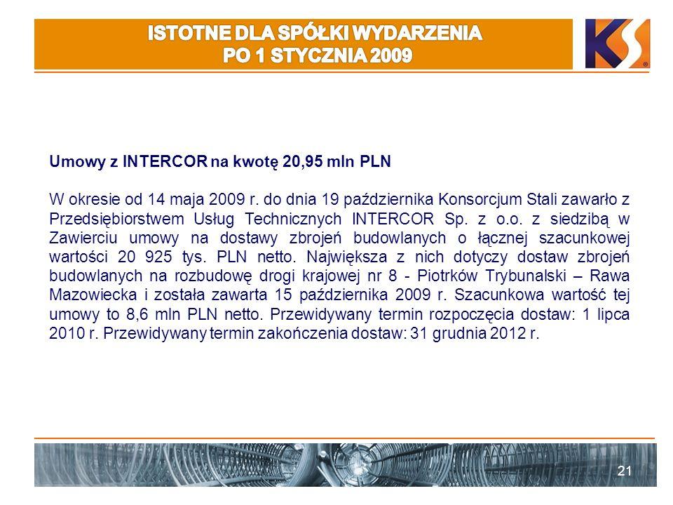 Umowy z INTERCOR na kwotę 20,95 mln PLN W okresie od 14 maja 2009 r. do dnia 19 października Konsorcjum Stali zawarło z Przedsiębiorstwem Usług Techni