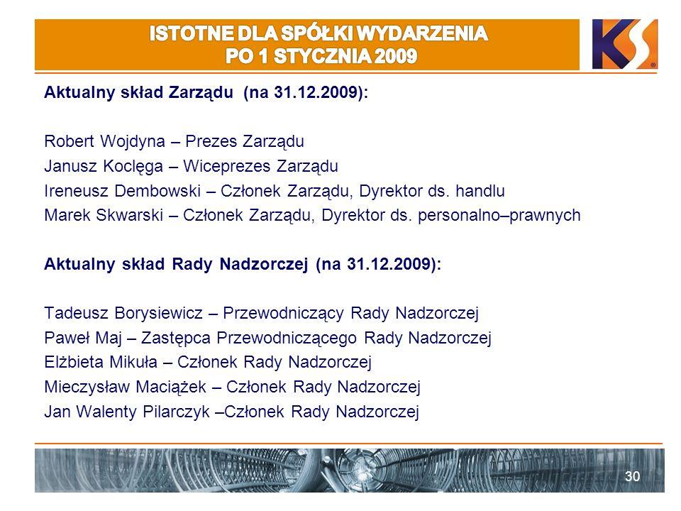 Aktualny skład Zarządu (na 31.12.2009): Robert Wojdyna – Prezes Zarządu Janusz Koclęga – Wiceprezes Zarządu Ireneusz Dembowski – Członek Zarządu, Dyre