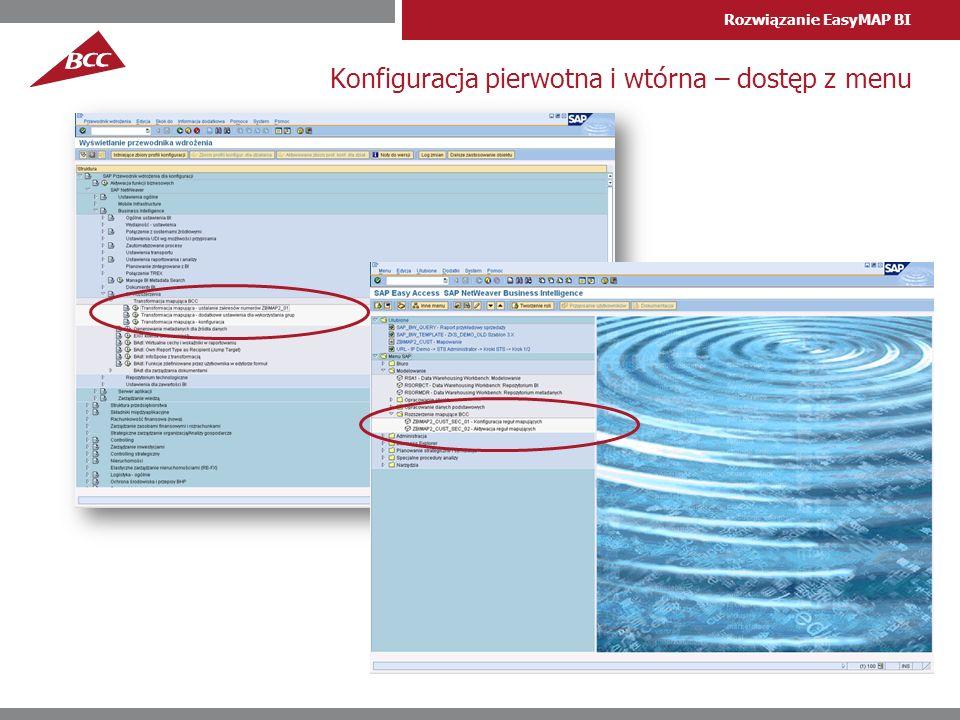 Rozwiązanie EasyMAP BI Konfiguracja pierwotna i wtórna – dostęp z menu