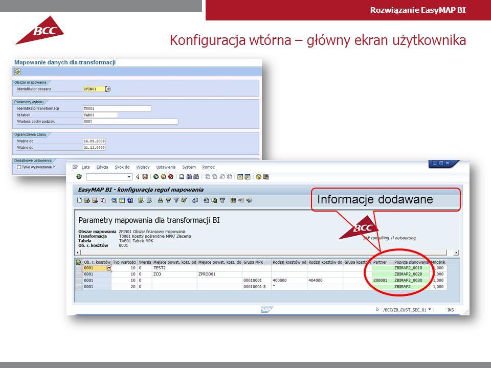 Rozwiązanie EasyMAP BI Konfiguracja wtórna – główny ekran użytkownika Informacje dodawane