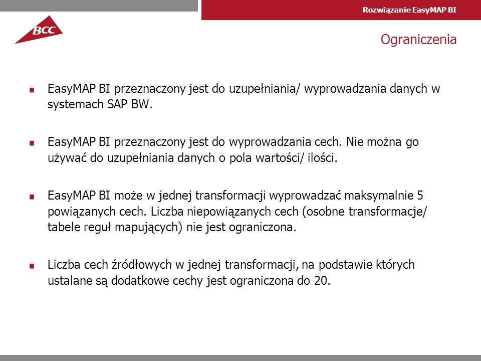 Rozwiązanie EasyMAP BI Ograniczenia EasyMAP BI przeznaczony jest do uzupełniania/ wyprowadzania danych w systemach SAP BW. EasyMAP BI przeznaczony jes