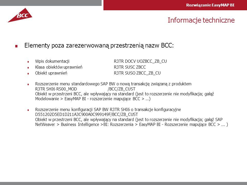 Rozwiązanie EasyMAP BI Informacje techniczne Elementy poza zarezerwowaną przestrzenią nazw BCC: Wpis dokumentacji R3TR DOCV UOZBCC_ZB_CU Klasa obiektó