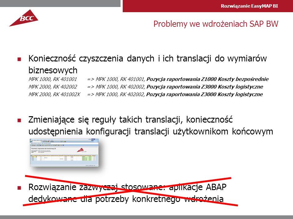 Rozwiązanie EasyMAP BI Problemy we wdrożeniach SAP BW Konieczność czyszczenia danych i ich translacji do wymiarów biznesowych MPK 1000, RK 401001 => M
