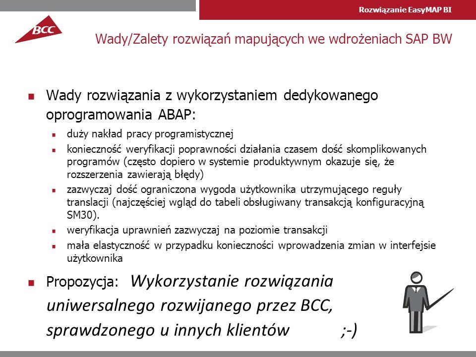 Rozwiązanie EasyMAP BI Wady/Zalety rozwiązań mapujących we wdrożeniach SAP BW Wady rozwiązania z wykorzystaniem dedykowanego oprogramowania ABAP: duży