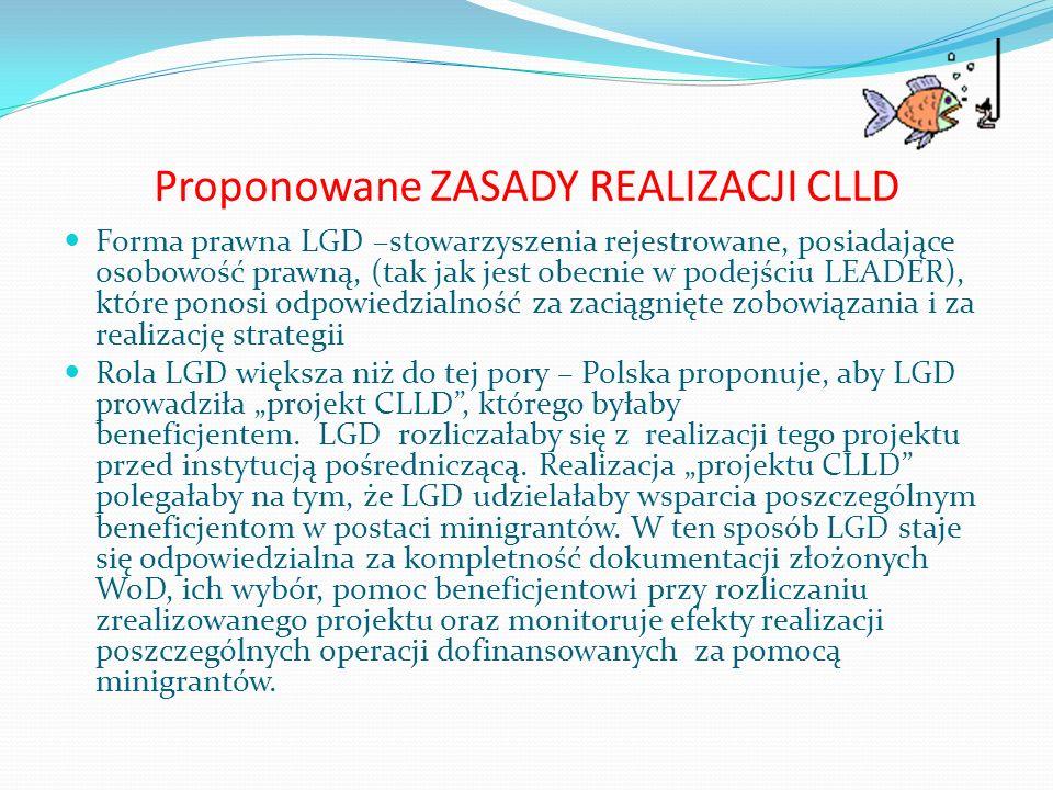 Proponowane ZASADY REALIZACJI CLLD Forma prawna LGD –stowarzyszenia rejestrowane, posiadające osobowość prawną, (tak jak jest obecnie w podejściu LEAD