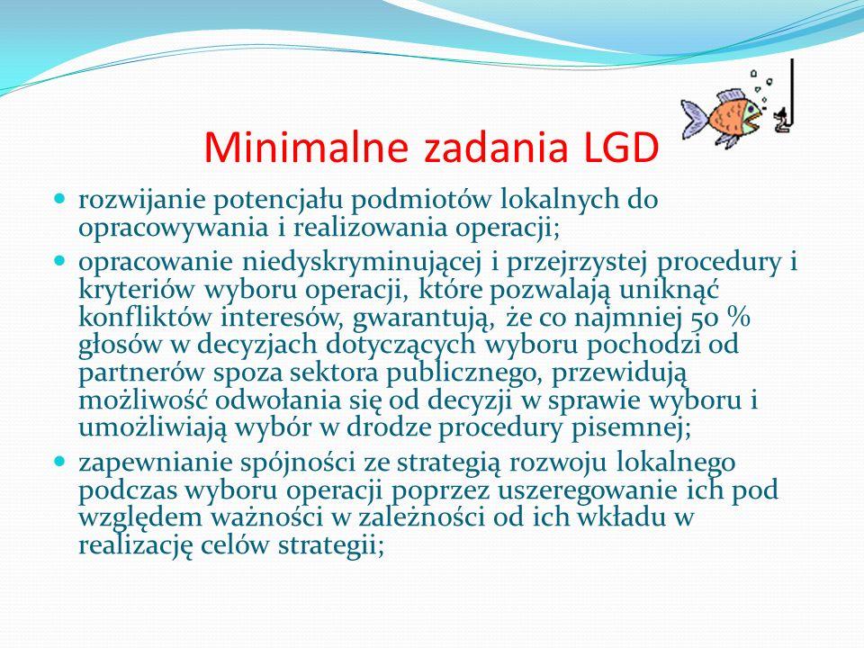 Minimalne zadania LGD rozwijanie potencjału podmiotów lokalnych do opracowywania i realizowania operacji; opracowanie niedyskryminującej i przejrzyste