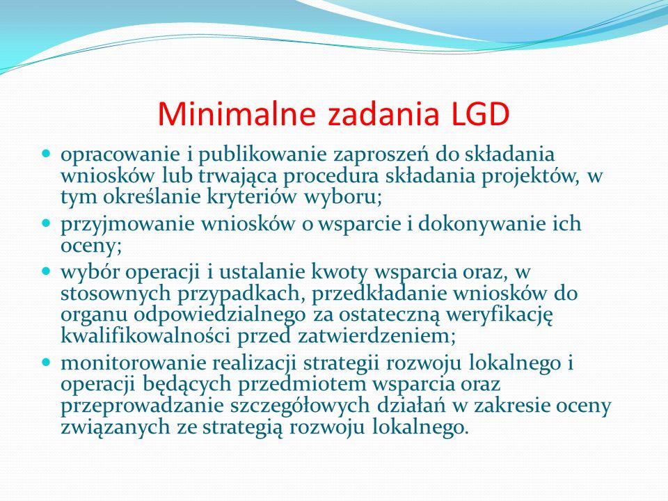 Minimalne zadania LGD opracowanie i publikowanie zaproszeń do składania wniosków lub trwająca procedura składania projektów, w tym określanie kryterió