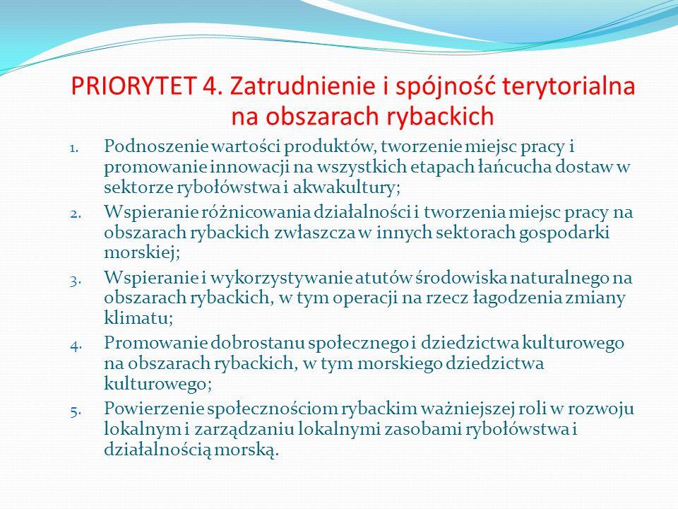PRIORYTET 4. Zatrudnienie i spójność terytorialna na obszarach rybackich 1. Podnoszenie wartości produktów, tworzenie miejsc pracy i promowanie innowa