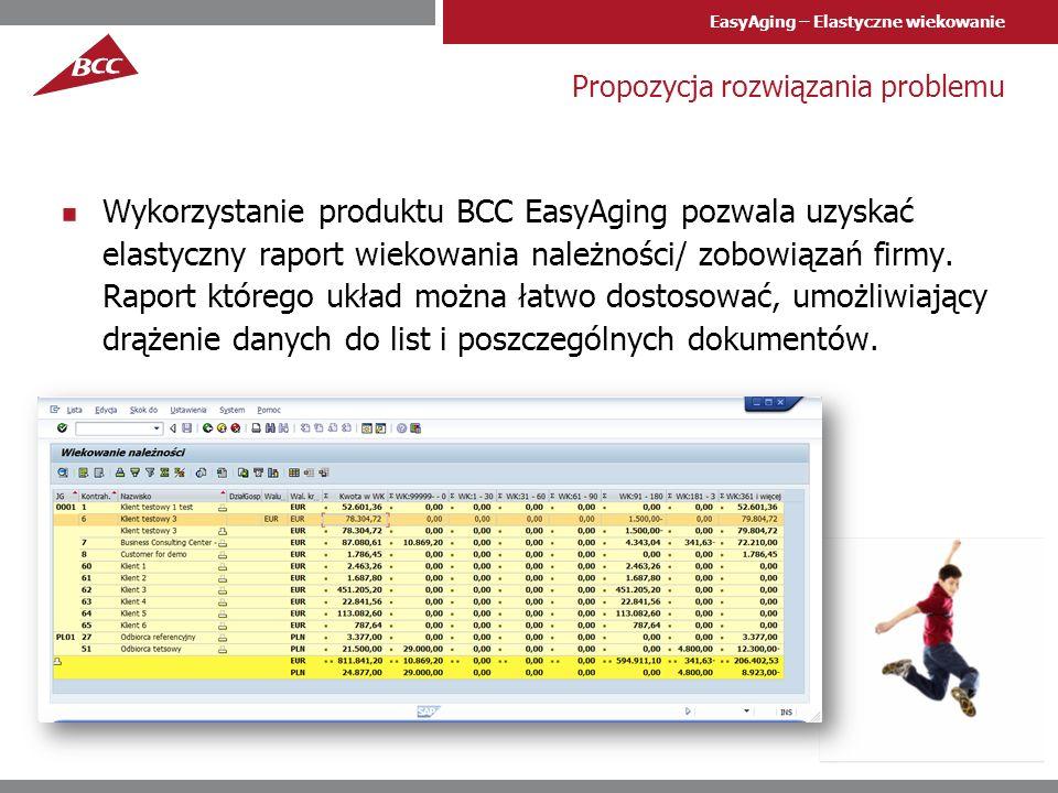 EasyAging – Elastyczne wiekowanie Funkcje produktu Produkt pozwala wyświetlić raport wiekowania rozrachunków, przy czym: Przedziały wiekowania można zmieniać każdorazowo uruchamiając raport Datę wiekowania, dla której analizę wykona raport można dowolnie ustawiać Układ kolumn raportu można dostosowywać do potrzeb użytkownika (przestawiać, ukrywać, sortować, podsumowywać) i zapamiętywać Raport przetwarza poszczególne pozycje dokumentów, ustalając terminy płatności dla każdej pozycji.