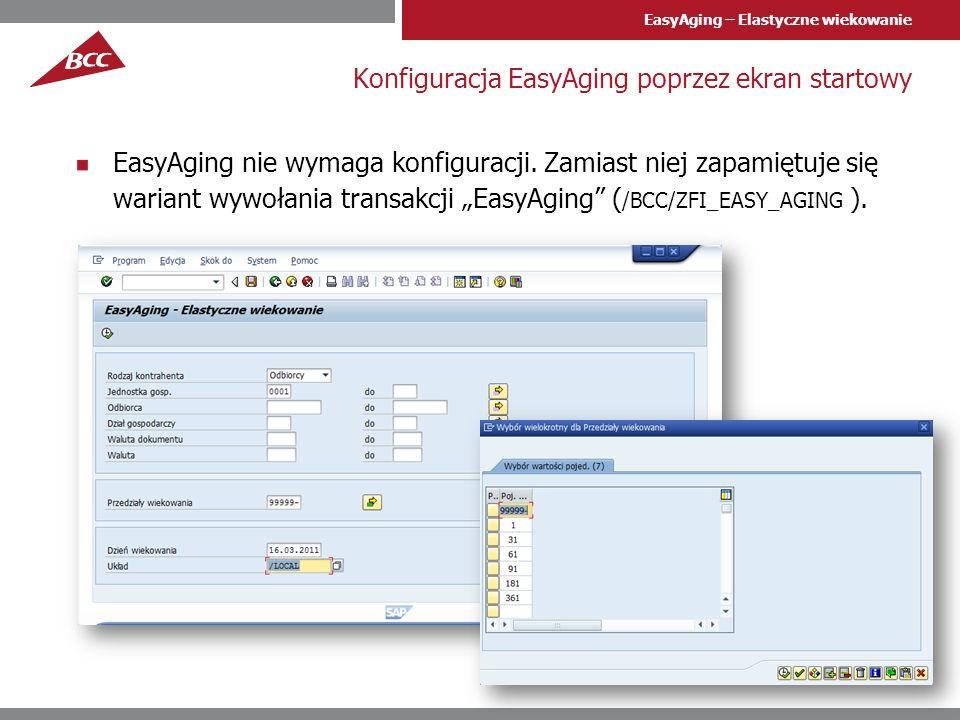 EasyAging – Elastyczne wiekowanie Wygląd raportu EasyAging potrafi wyświetlić wiekowanie w przyjaznym interfejsie listy ALV/Excel (dwuklik = przejście do listy dokumentów FI)