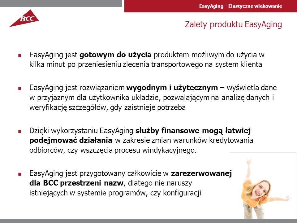 EasyAging – Elastyczne wiekowanie Zawartość produktu Bezterminowa licencja na użytkowanie produktu na systemach SAP klienta Pliki zleceń transportowych do wgrania przez administratorów BASIS klienta do systemu SAP wraz z instrukcją instalacji Instrukcja dla użytkownika oprogramowania