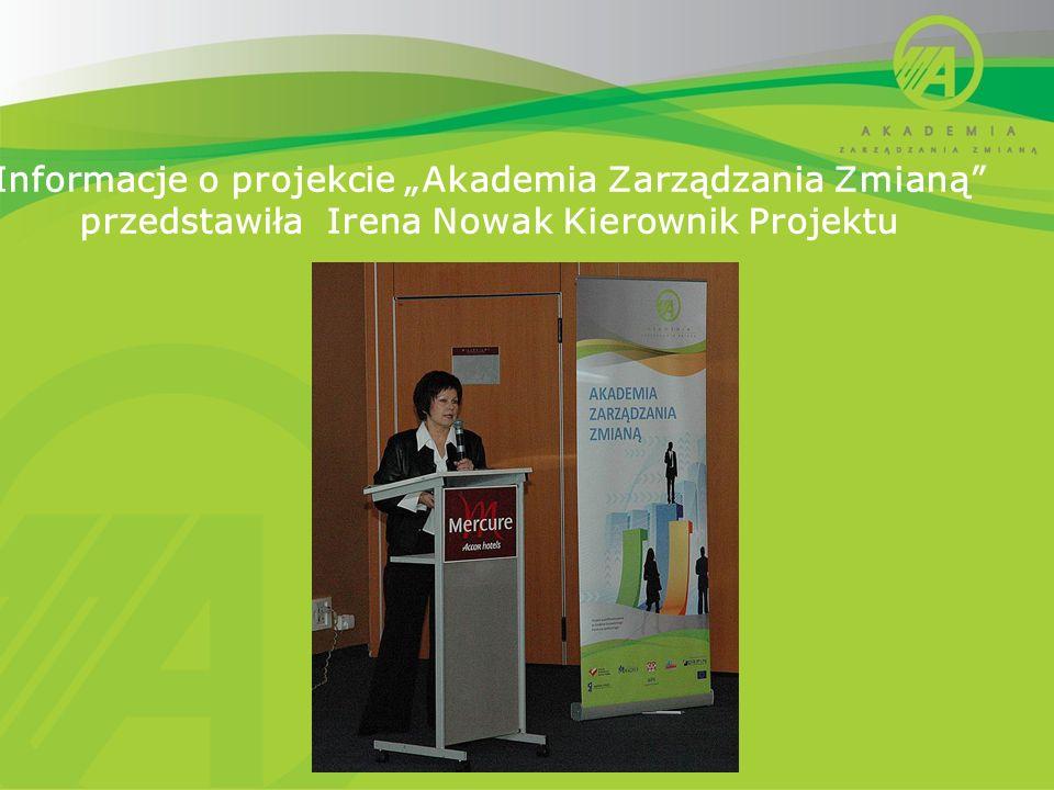 Informacje o projekcie Akademia Zarządzania Zmianą przedstawiła Irena Nowak Kierownik Projektu