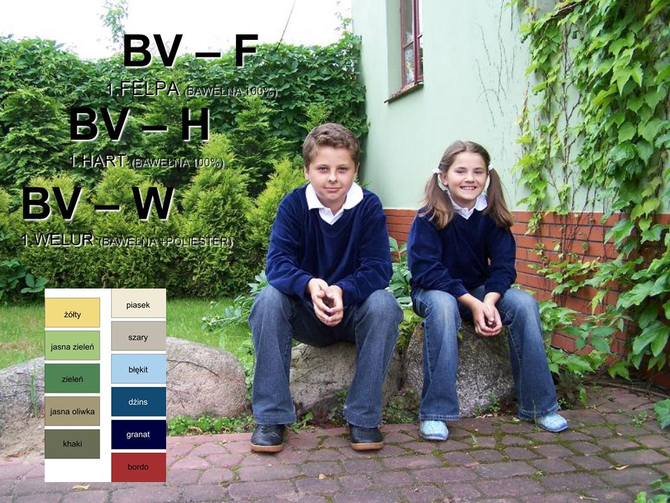 BV – F 1.FELPA ( BAWEŁNA 100%) BV – W 1.WELUR (BAWEŁNA +POLIESTER) BV – H 1.HART (BAWEŁNA 100%)