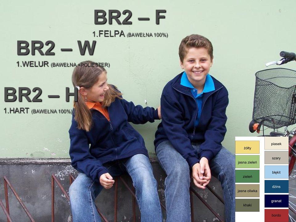 BR2 – F 1.FELPA ( BAWEŁNA 100%) BR2 – W 1.WELUR (BAWEŁNA +POLIESTER) BR2 – H 1.HART (BAWEŁNA 100%)
