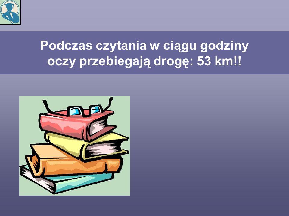 Podczas czytania w ciągu godziny oczy przebiegają drogę: 53 km!!