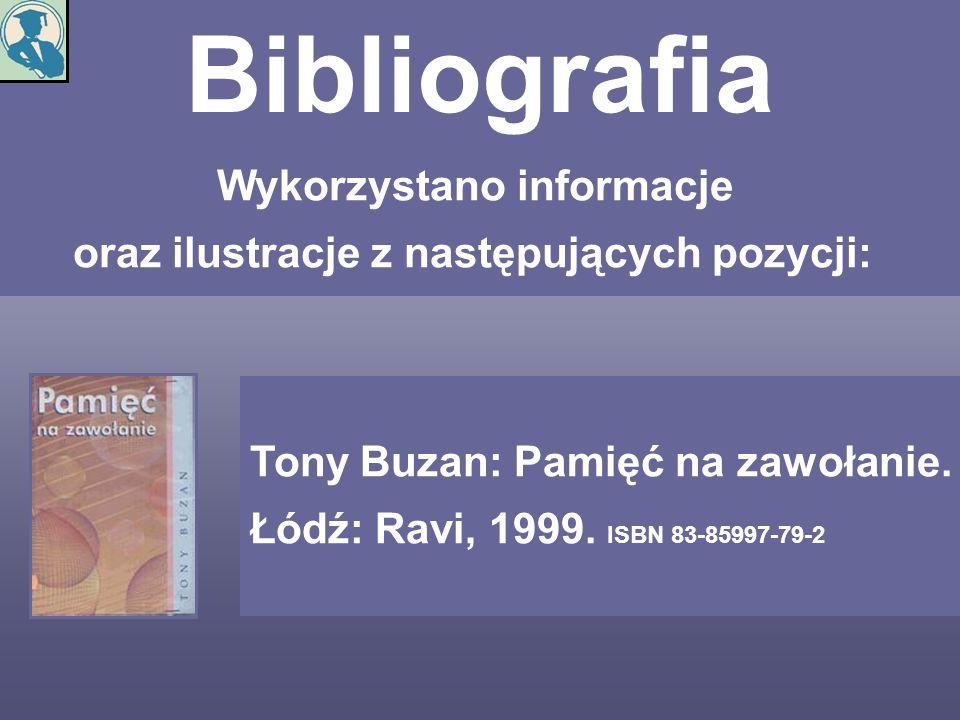 Bibliografia Wykorzystano informacje oraz ilustracje z następujących pozycji: Tony Buzan: Pamięć na zawołanie. Łódź: Ravi, 1999. ISBN 83-85997-79-2
