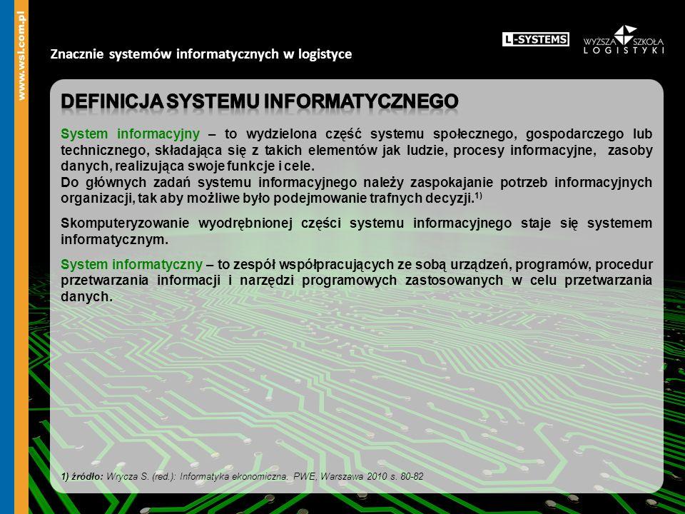 Znacznie systemów informatycznych w logistyce