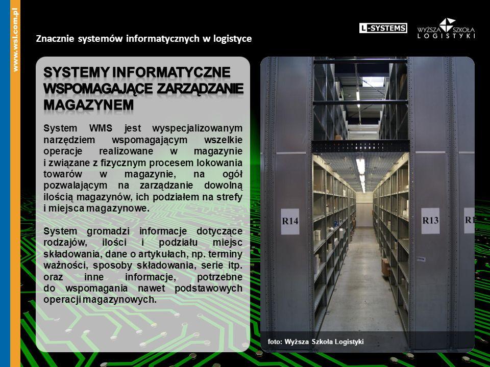 Znacznie systemów informatycznych w logistyce podstawowe funkcje systemu klasy WMS dostawy do magazynu zarządzanie lokacjami w magazynie kompletacje wysyłki z magazynu inwentaryzacje wykorzystanie radioterminali wykorzystanie standardów GS1 nadzór nad opakowaniami zwrotnymi nadzór nad partiami wykorzystanie automatycznej identyfikacji danych