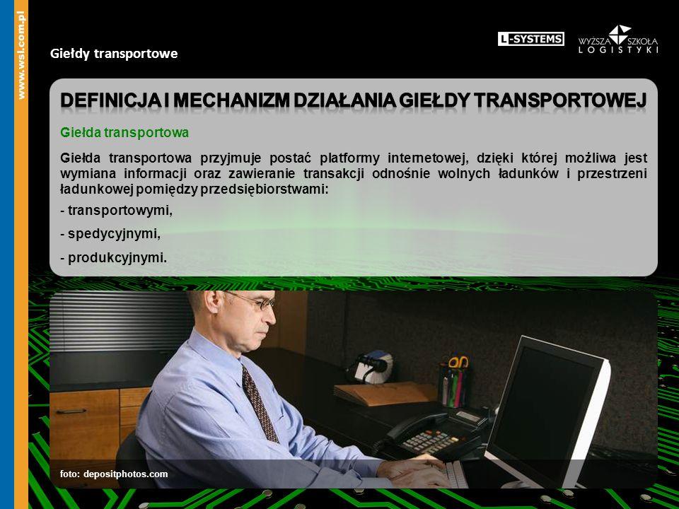 Giełdy transportowe Giełda transportowa Porównanie ofert Zawieranie umów Przedsiębiorstwa spedycyjne i produkcyjne Przedsiębiorstwo transportowe Oferty wolnej przestrzeni ładunkowej Oferty ładunków do przewiezienia