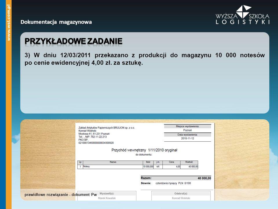 prawidłowe rozwiązanie - dokument Pw