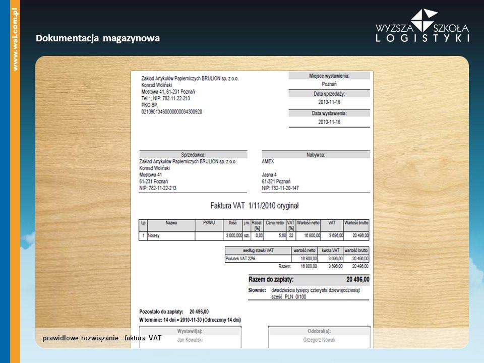 prawidłowe rozwiązanie - faktura VAT