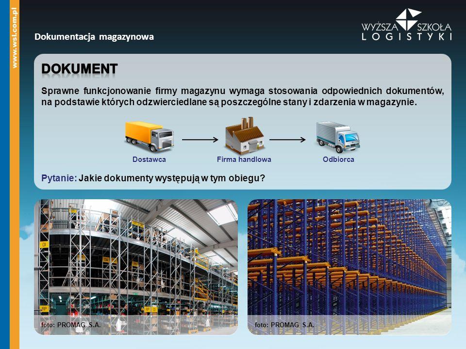Dokumentacja magazynowa DostawcaFirma handlowaOdbiorca foto: PROMAG S.A.