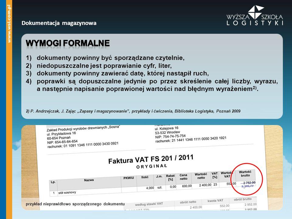 prawidłowe rozwiązanie - faktura VAT Dokumentacja magazynowa