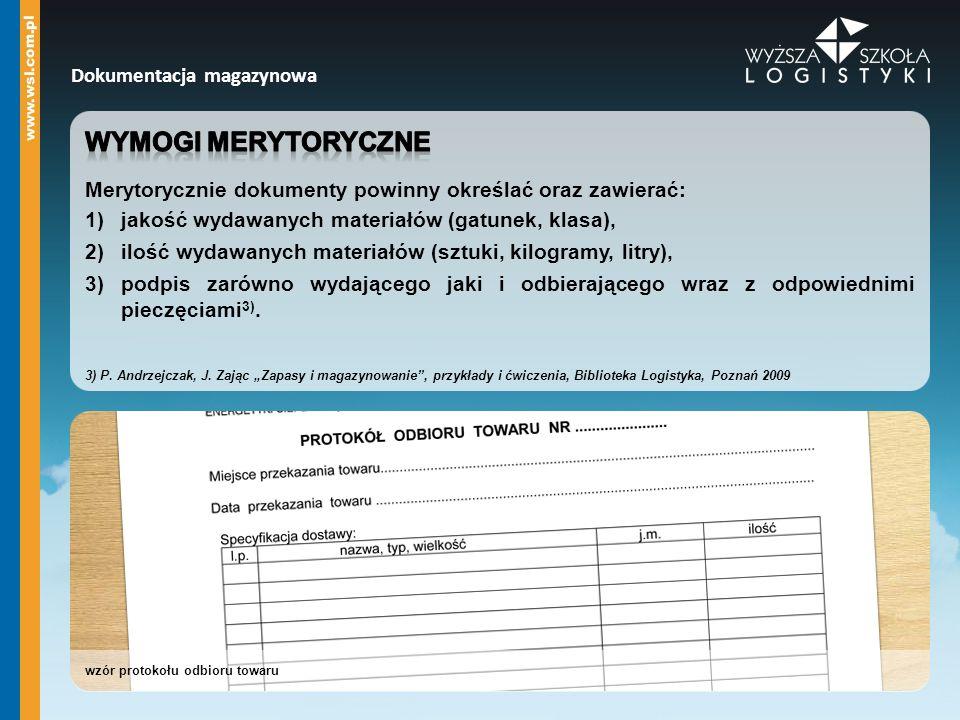 wzór protokołu odbioru towaru Dokumentacja magazynowa