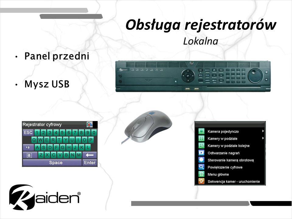 Obsługa rejestratorów Lokalna Panel przedni Mysz USB