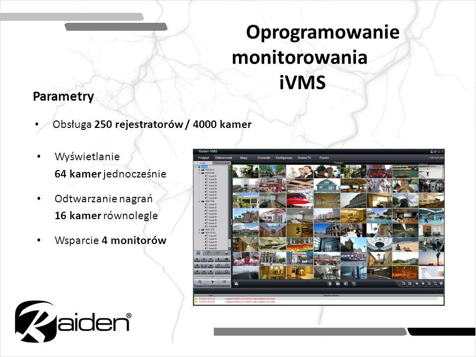 Obsługa 250 rejestratorów / 4000 kamer Oprogramowanie monitorowania iVMS Parametry Wyświetlanie 64 kamer jednocześnie Odtwarzanie nagrań 16 kamer równ