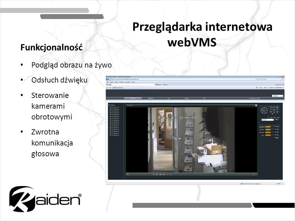 Przeglądarka internetowa webVMS Funkcjonalność Podgląd obrazu na żywo Odsłuch dźwięku Sterowanie kamerami obrotowymi Zwrotna komunikacja głosowa