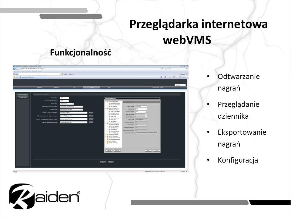 Odtwarzanie nagrań Przeglądanie dziennika Eksportowanie nagrań Konfiguracja Przeglądarka internetowa webVMS Funkcjonalność