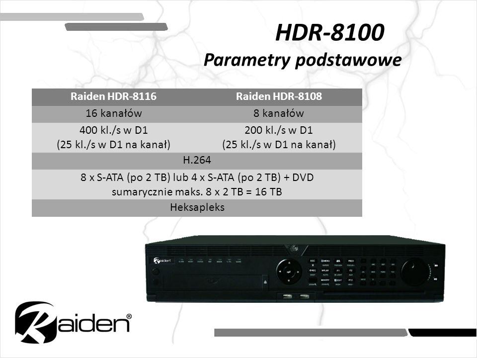 Raiden HDR-8116Raiden HDR-8108 16 kanałów8 kanałów 400 kl./s w D1 (25 kl./s w D1 na kanał) 200 kl./s w D1 (25 kl./s w D1 na kanał) H.264 8 x S-ATA (po