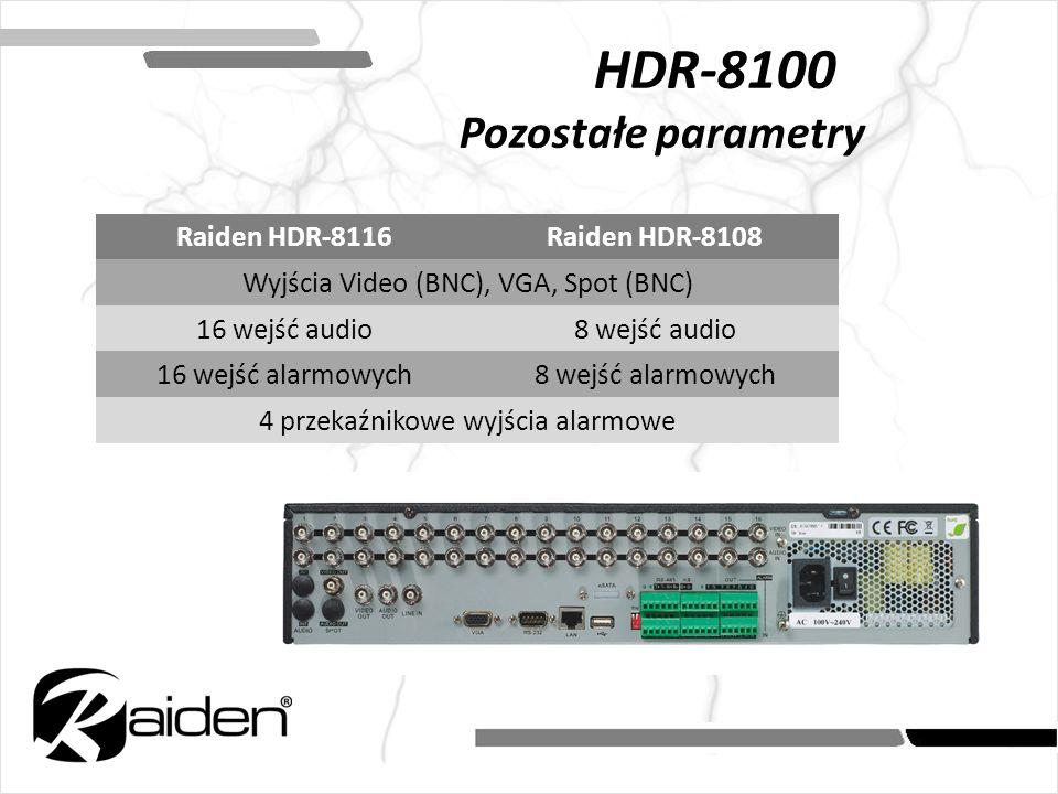 HDR-8100 Pozostałe parametry Raiden HDR-8116Raiden HDR-8108 Wyjścia Video (BNC), VGA, Spot (BNC) 16 wejść audio8 wejść audio 16 wejść alarmowych8 wejś