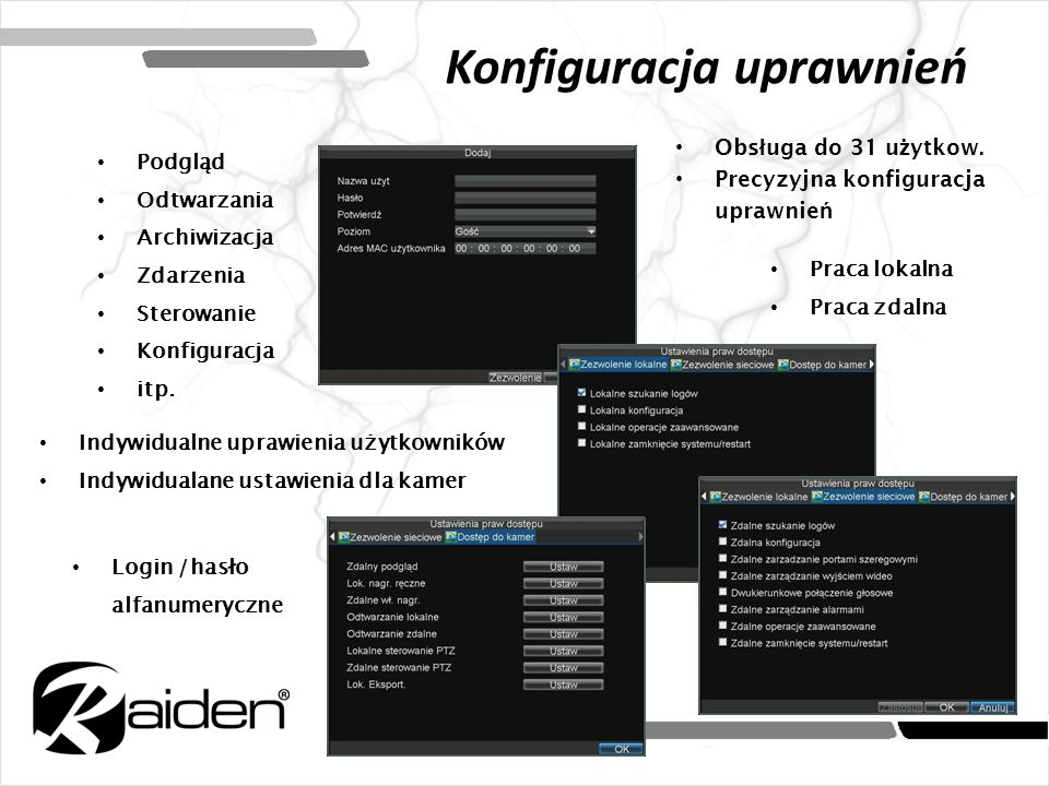 Monitorowanie zdarzeń Wykonywanie akcji zdarzeniowych Oprogramowanie monitorowania iVMS