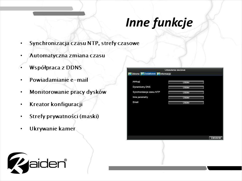 Inne funkcje Synchronizacja czasu NTP, strefy czasowe Automatyczna zmiana czasu Współpraca z DDNS Powiadamianie e-mail Monitorowanie pracy dysków Krea