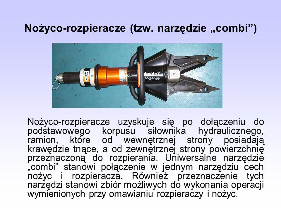 Nożyco-rozpieracze (tzw. narzędzie combi) Nożyco-rozpieracze uzyskuje się po dołączeniu do podstawowego korpusu siłownika hydraulicznego, ramion, któr