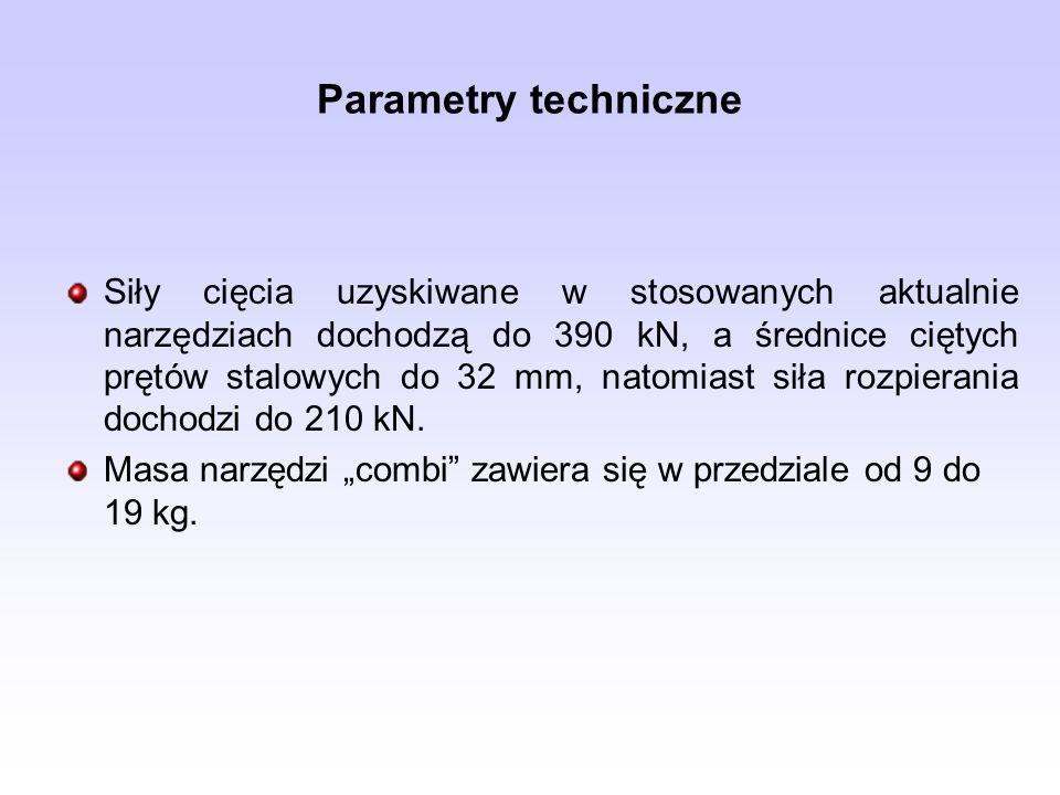 Parametry techniczne Siły cięcia uzyskiwane w stosowanych aktualnie narzędziach dochodzą do 390 kN, a średnice ciętych prętów stalowych do 32 mm, nato