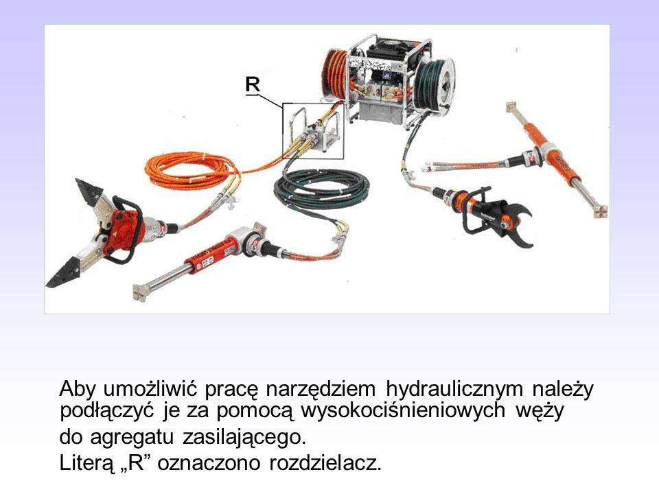 Aby umożliwić pracę narzędziem hydraulicznym należy podłączyć je za pomocą wysokociśnieniowych węży do agregatu zasilającego. Literą R oznaczono rozdz