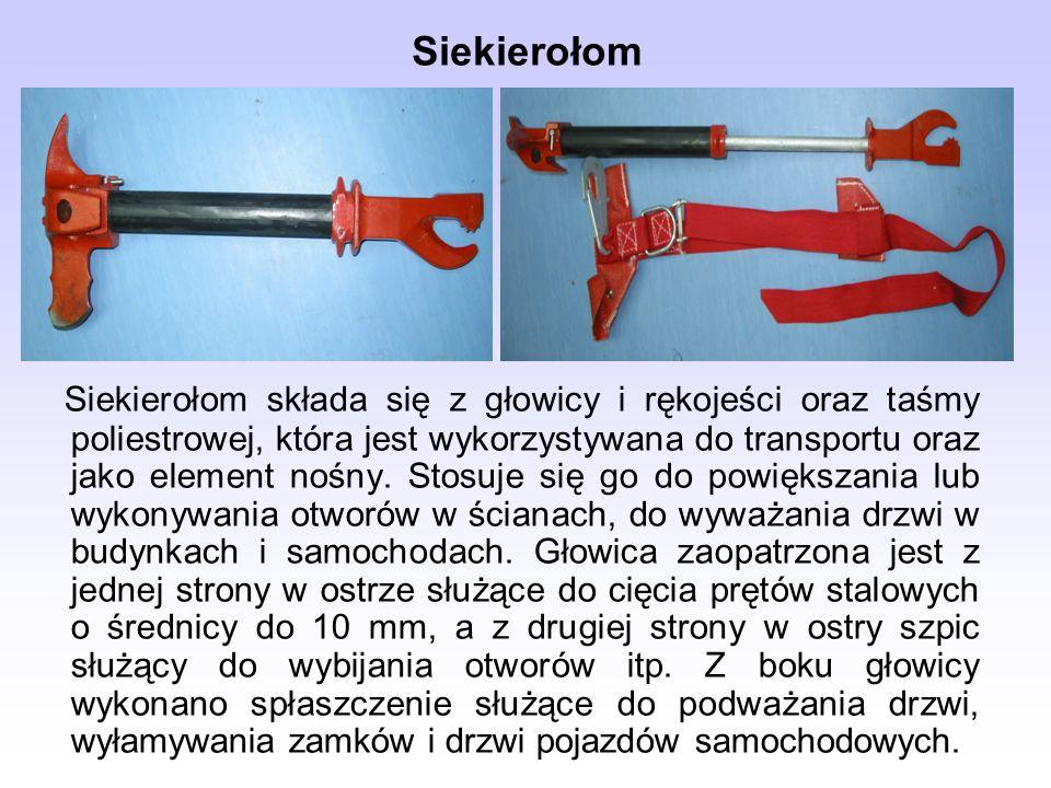 Siekierołom Siekierołom składa się z głowicy i rękojeści oraz taśmy poliestrowej, która jest wykorzystywana do transportu oraz jako element nośny. Sto