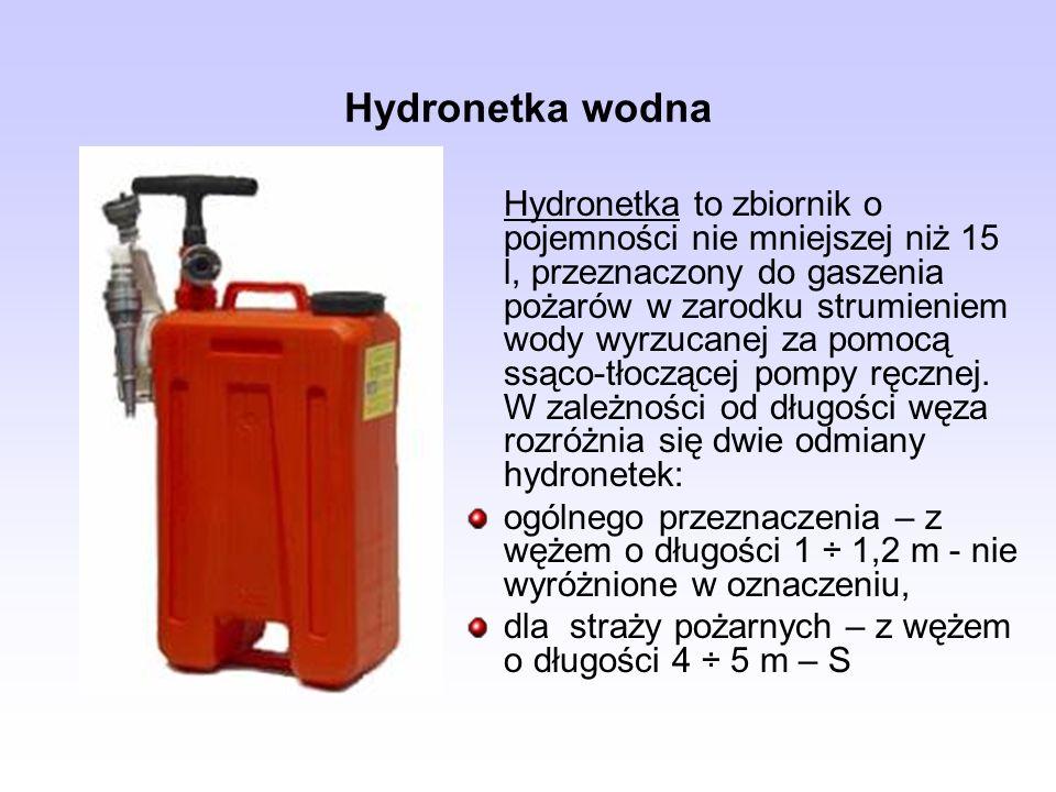 Hydronetka wodna Hydronetka to zbiornik o pojemności nie mniejszej niż 15 l, przeznaczony do gaszenia pożarów w zarodku strumieniem wody wyrzucanej za