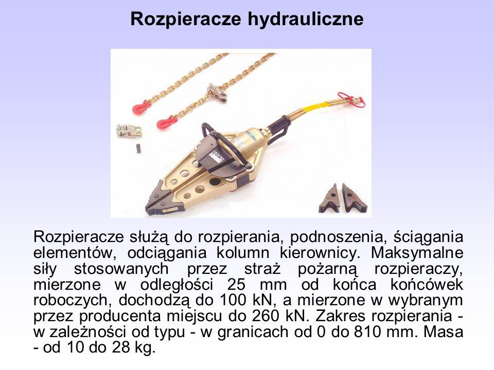 Rozpieracze hydrauliczne Rozpieracze służą do rozpierania, podnoszenia, ściągania elementów, odciągania kolumn kierownicy. Maksymalne siły stosowanych