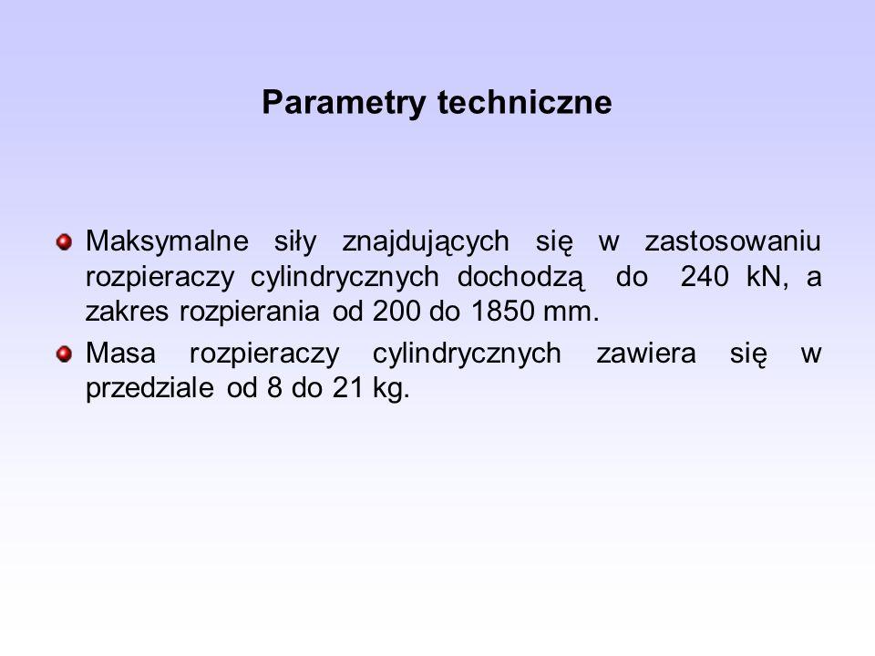 Parametry techniczne Maksymalne siły znajdujących się w zastosowaniu rozpieraczy cylindrycznych dochodzą do 240 kN, a zakres rozpierania od 200 do 185