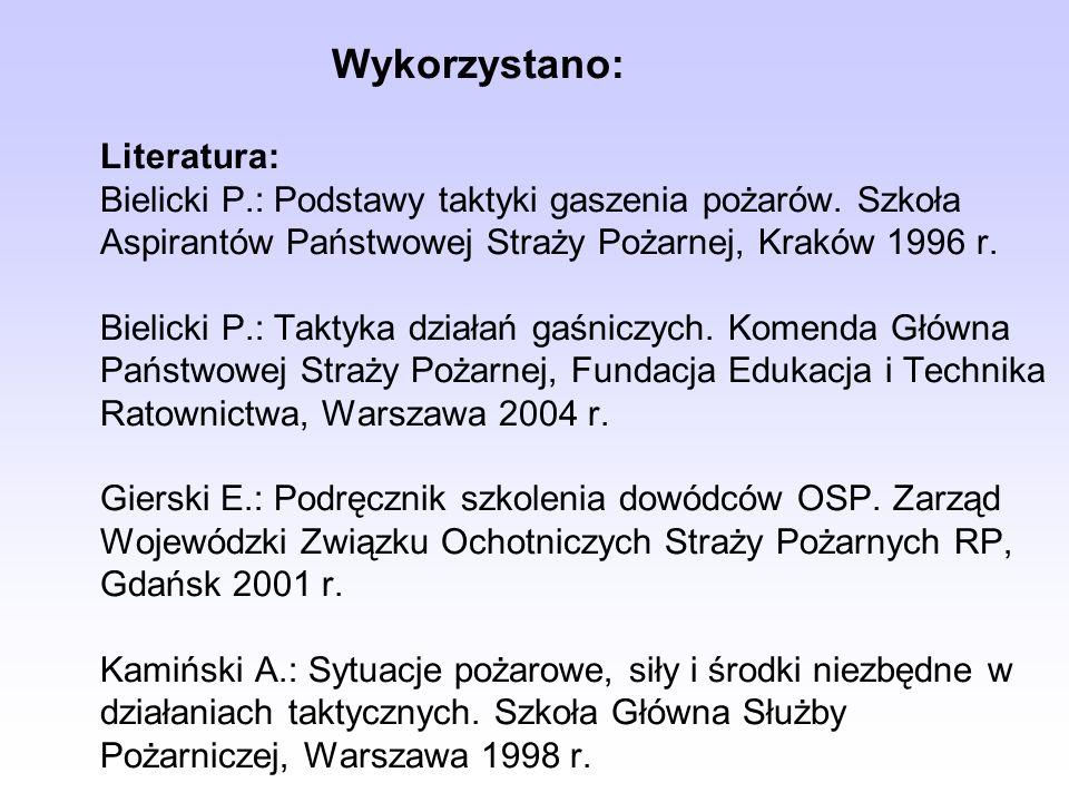 Wykorzystano: Literatura: Bielicki P.: Podstawy taktyki gaszenia pożarów. Szkoła Aspirantów Państwowej Straży Pożarnej, Kraków 1996 r. Bielicki P.: Ta