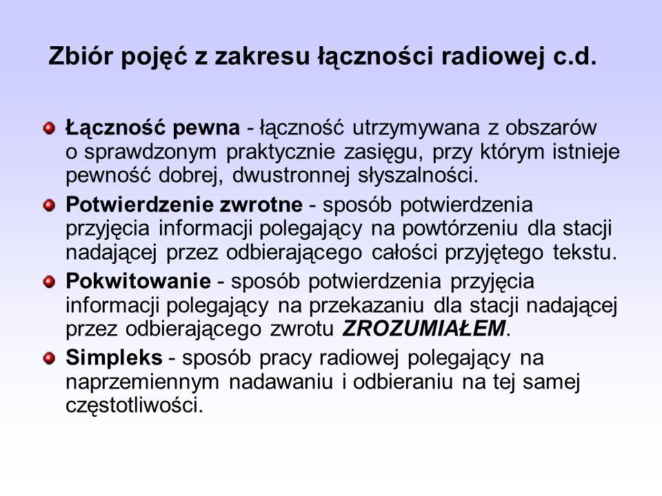 Zbiór pojęć z zakresu łączności radiowej c.d. Łączność pewna - łączność utrzymywana z obszarów o sprawdzonym praktycznie zasięgu, przy którym istnieje
