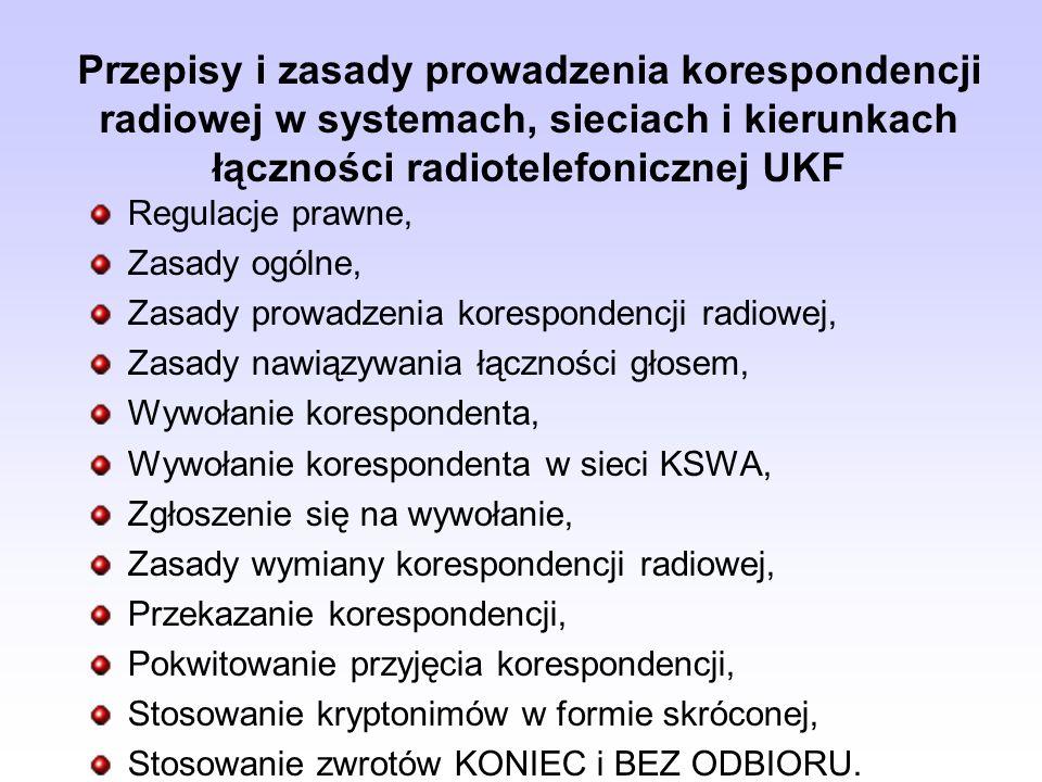 Przepisy i zasady prowadzenia korespondencji radiowej w systemach, sieciach i kierunkach łączności radiotelefonicznej UKF Regulacje prawne, Zasady ogó