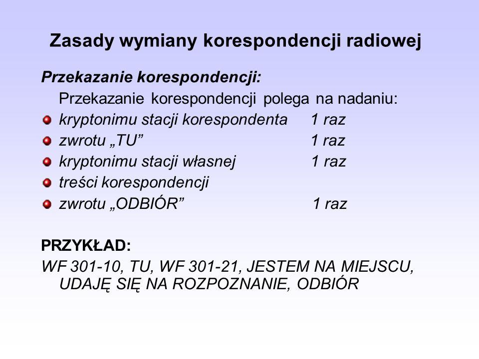 Zasady wymiany korespondencji radiowej Przekazanie korespondencji: Przekazanie korespondencji polega na nadaniu: kryptonimu stacji korespondenta 1 raz