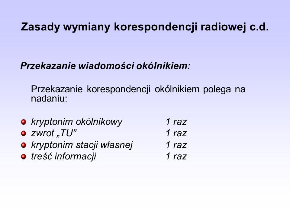 Zasady wymiany korespondencji radiowej c.d. Przekazanie wiadomości okólnikiem: Przekazanie korespondencji okólnikiem polega na nadaniu: kryptonim okól