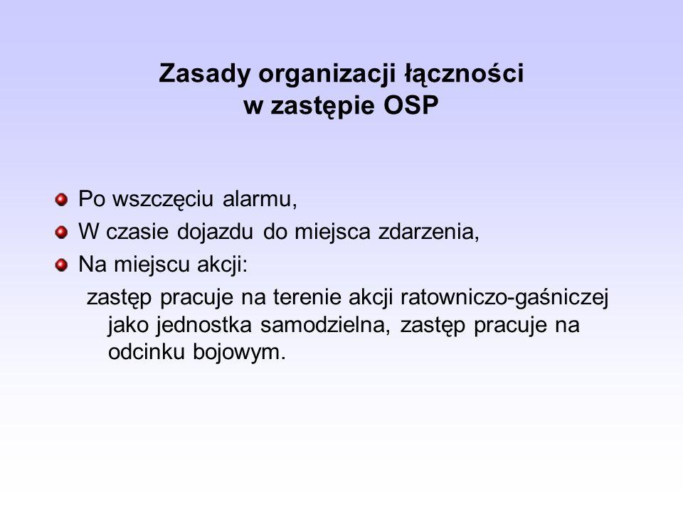 Zasady organizacji łączności w zastępie OSP Po wszczęciu alarmu, W czasie dojazdu do miejsca zdarzenia, Na miejscu akcji: zastęp pracuje na terenie ak